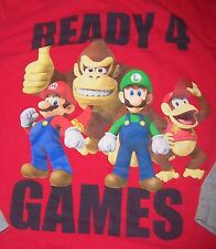SUPER MARIO BROS~Red/Gray Long-sleeve Shirt~READY 4 GAMES~BOYS SIZE L/10/12