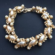 Vtg FLORENZA Signed Gold Pearl Bracelet Designer Runway -27