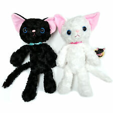 Plush Cat Adorable Cute Kutakuta Lay Fluffy Kitten Cat Black & White -2 Set (B)