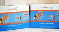 Set of (2) Inflatable Floating Sports Net Sets Goal Pool Float w/ 4 Flying Discs