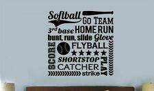 SOFTBALL COLLAGE SUBWAY Words Lettering Vinyl Wall Decal Quote Sports Sticker