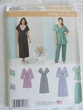 Simplicity Pattern 1260 Ms Nightgown in 3 Lengths, Pajama Top/Pants & Slippers