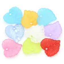 50 x FROSTED ACRLIC LEAF CHARMS - 15 x 14mm - MIXED PASTEL COLOURS *UK SELLER**