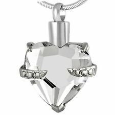 Stainless Steel Heart Cremation Pendant Urn Jewelry Holds Pet Ashes Human Clear