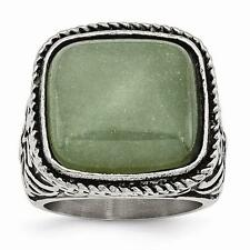 NEW Chisel Stainless Steel Antiqued/Polished Chalcedony Aventurine Ring SR387-6