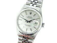 Mens Rolex Datejust SS Watch w/Silver Dial & 18k White Gold Bezel 1601