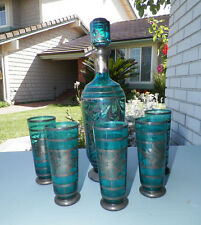 VINTAGE TEAL BLUE ITALIAN GLASS DECANTER WITH FIVE (5) GLASSES SILVER OVERLAY