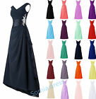 New Chiffon V Neck Wedding Bridesmaid Formal Ball Gown Evening Dresses Long Maxi