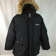 Phat Farm Black Down Parka Coyote Fur Trimmed Hood Coat Large 4G-PFMax Clymatec