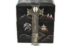Vtg Japanese Wood Lacquer Jewelry Box 3 Tier with MOP Inlay Silver Plated Latch