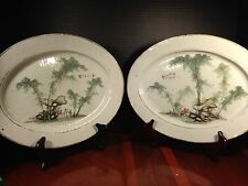 ANTIQUE CHINESE PORCELAIN QIAN JIANG COLOR PLATEs PAIR with Mark 'Made by LianXi