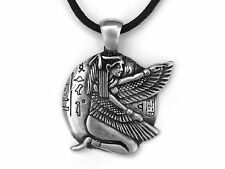 Egyptian Goddess Kneeling Isis Pewter Pendant on Black Cotton Cord Necklace