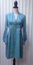 NANETTE LEPORE SZ 6 Silk Dress Aquamarine Empire V Neck Boho