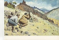 """1972 Vintage HUNTING """"MOUNTAIN SHEEP, 1912"""" WYOMING BIG HORN Color Lithograph"""