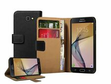 Wallet BLACK Leather Flip Case Cover Pouch Saver For Samsung Galaxy J5 Prime