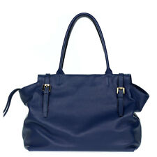 Gianni Chiarini Italian Made Navy Blue Pebbled Leather Lrg Slouchy Carryall Tote