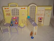 Barbie Folding Kitchen - Doll House - Table, Chairs, Food, Accessories Set 1998