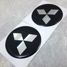 "4X ""MITSUBISHI"" 45 mm Black Resin Wheel Center Caps Logo Decal Emblem Stickers"