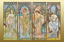"""Alphonse (Alfons) Mucha- """"Times of the Day"""", 1899--24""""x36"""" CANVAS ART"""