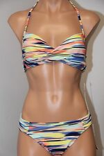 NWT Roxy Swimsuit 2pc Bikini Set Sz L Wrap Halter Base Pant Bottom PMK6 Multi