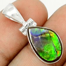 Genuine Canadian Ammolite  925 Sterling Silver Pendant Jewelry SP209353