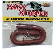 """K & E Bass Stopper Weedless Worm, SIX Packs, 3-Hook, 6"""" Natural  #3WBS1PK-8"""