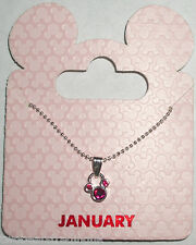 Disney Parks Silvertone Birthstone Necklace - Mickey Mouse: January (Red Garnet)