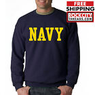 NAVY BLOCK CREW NECK GOLD Sweatshirt Military Blend Seal US U.S.NAVY USNAVY