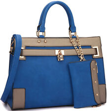 Dasein Women Leather Handbag Padlock & Key Satchel Tote Bag with Shoulder Strap