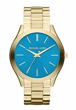 MICHAEL KORS MK3265 Runway Blue Dial Gold Tone Stainless Steel Wrist Watch NEW