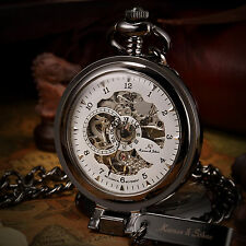 KS Vintage Men's Skeleton Chain Necklace Hand-winding Mechanical Pocket Watch