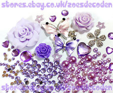 3D DIY Mobile  Phone Case purple butterfly flower silver cabochon Deco Den Kit