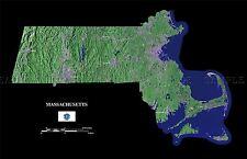 Mapa del condado de satélite de Estados Unidos Bandera del estado de Massachusetts réplica cartel impresión pam1377