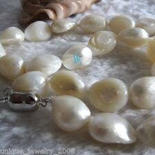 "18"" 10-12mm White Baroque Freshwater Mother of Pearl Necklace"
