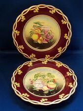 Pair Antique English Porcelain Plates 19th century Purple Fruit Flower Painting
