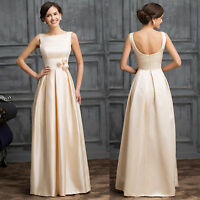 Vintage 50s 60s Elegant Lady Evening Wedding Gown Prom Pageant Long Satin Dress