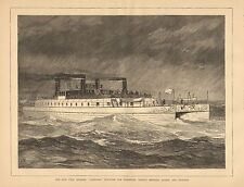 English Channel Twin Steamer, Castalia, Ferry Boat, Vintage 1874 Antique Print