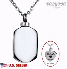 Engraved Personalized Plain Dog Tags Cremation Jewelry Keepsake Urn Ash Necklace