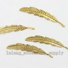 10x Hot Gold Plated Alloy Feather Pendant Charms Findings Fit Jewellery Crafts L
