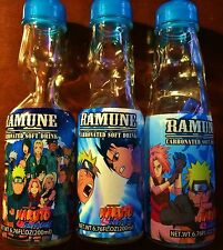 Lot of 3 Different Ramune Bottles - Naruto Shippuden - Manga Anime Collectible