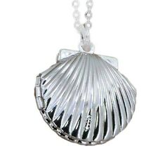 Sea Shell Locket on Silver Chain Necklace for Women or Girls Fashion Jewelry