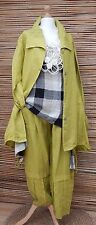 LAGENLOOK BEAUTIFUL 3 PCS OUTFIT JACKET+TUNIC+TROUSERS*LIME/BEIGE*BUST UP TO 46""