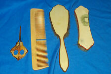 Old Set of Vanity Brushes Hair Brush Coat Clothing Comb Vintage Celluloid Womens