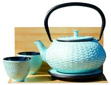 Cups Trivet & RATTAN cast iron tea pot 0.8L Aqua on gold colour japanese style