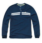 HOLLISTER BY Abercrombie Men's Dudes Guys STRIPED ICON HENLEY L/S SHIRT Blue