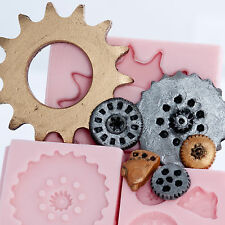 Silicone Molds set of 3 Steampunk Gear Cog Moulds Food Safe Candy Clay   (227)