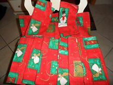 set of 9 red and green Christmas cloth napkins with angels and snowmen