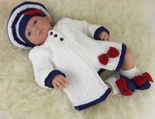 Baby Knitting Pattern DK #53 TO KNIT Matinee Cardigan Hat Shoes Reborn Dolls