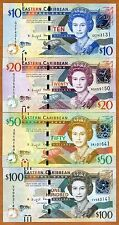 SET Eastern East Caribbean, $10-20-50-100, ND (2016) , P-New, UNC   Upgraded