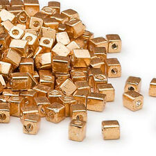 100 Metallic Gold Miyuki Cube Glass Beads 4MM